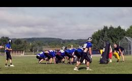 The Thunder set up to run a play during a morning preseason practice last week. LPGEis in the process of getting new skill position players prepared for the new season.