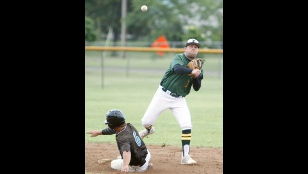 Predators second baseman Ted Gray fired toward first in attempt to turn a double play against Sauk Centre last Saturday.
