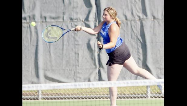 Alyssa Thelen returned a volley during the Thunder's season opening win against BBElast Thursday morning.
