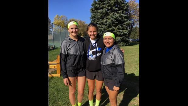 Alison Gugglberger (L) and Lupita Mora (R) will compete in the doubles semifinals, and Ally Ecker (M) in the singles semifinals this week.