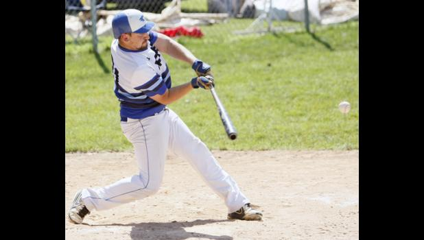 Upsala's Brady Burggraff took a cut at a pitch during a game earlier this season. Burggraff had two hits and scored twice on Saturday against Randall.