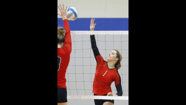 Junior middle hitter Desiree Dingmann went for an attack during Saturday's tournament at LPGE.