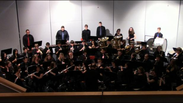 The Long Prairie-Grey Eagle High School Band performing at a recent Large Group Contest in Osakis.