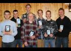 Front row from left: Blake Fossland, Matt Roe, Gabe Abraham, Eric Hinnenkamp. Back row from left: Brady Johnson, John Towner, Nick Abraham.
